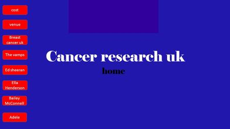 Cancer research uk home cost venue Breast cancer uk The vamps Ed sheeran Ella Henderson Bailey McConnell Adele.