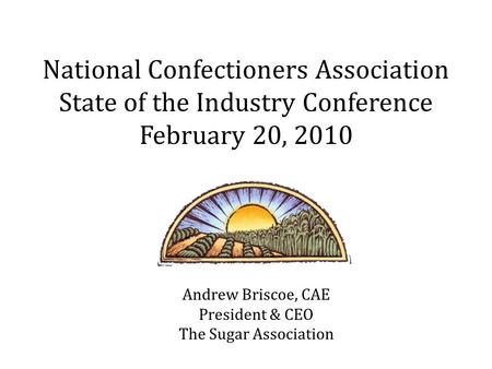 Andrew Briscoe, CAE President & CEO The Sugar Association National Confectioners Association State of the Industry Conference February 20, 2010.