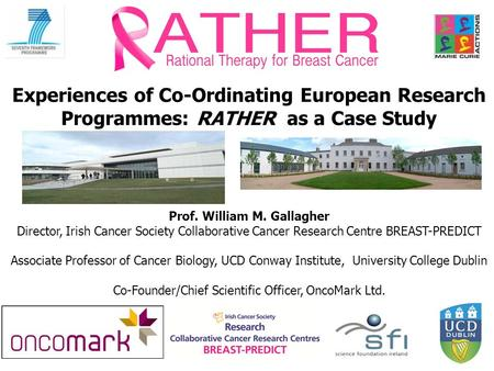Experiences of Co-Ordinating European Research Programmes: RATHER as a Case Study Prof. William M. Gallagher Director, Irish Cancer Society Collaborative.