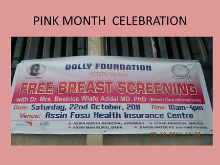 PINK MONTH CELEBRATION. DOLLY FOUNTATION PARTNER WITH WORLDVIEW MISSION.