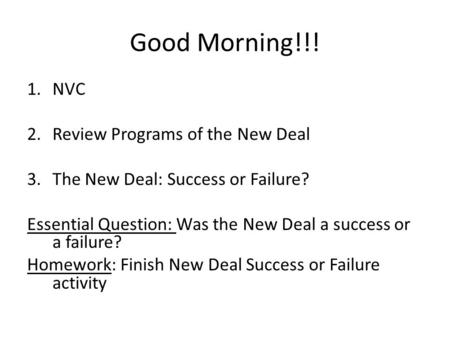 the new deal successes and failures