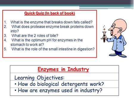 Enzymes in Industry Learning Objectives: How do biological detergents work? How are enzymes used in industry? Quick Quiz (In back of book) 1.What is the.