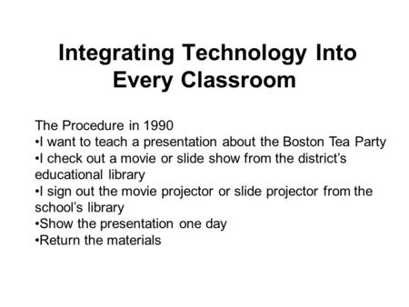 The Procedure in 1990 I want to teach a presentation about the Boston Tea Party I check out a movie or <strong>slide</strong> <strong>show</strong> from the district's educational library.