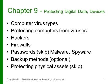 1 Chapter 9 - Protecting Digital Data, Devices Computer virus types Protecting computers from viruses Hackers Firewalls Passwords (skip) Malware, Spyware.