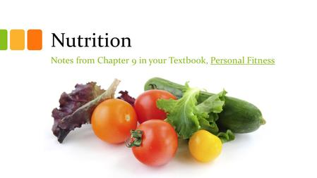 Nutrition Notes from Chapter 9 in your Textbook, Personal Fitness.