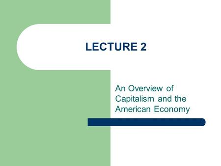 LECTURE 2 An Overview of Capitalism and the American Economy.