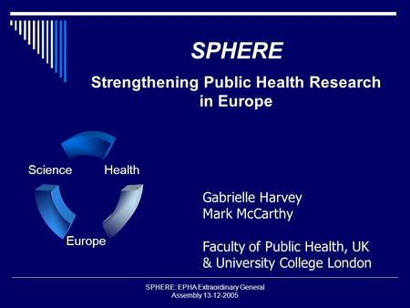 SPHERE: EPHA Extraordinary General Assembly 13-12-2005 SPHERE Strengthening Public Health Research in Europe Science Europe Health Gabrielle Harvey Mark.