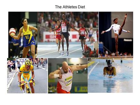 The Athletes Diet. Sports vary widely in the demands made upon the body. The standard of elite performance leaves little margin between victory/defeat.