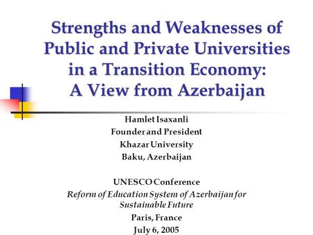 Reform of Education System of Azerbaijan for Sustainable Future
