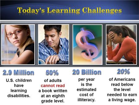 1 U.S. children have learning disabilities. of adults cannot read a book written at an eighth grade level. per year is the estimated cost of illiteracy.