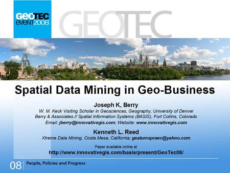 Title: Spatial Data Mining in Geo-Business. Overview  Twisting the Perspective of Map Surfaces — describes the character of spatial distributions through.