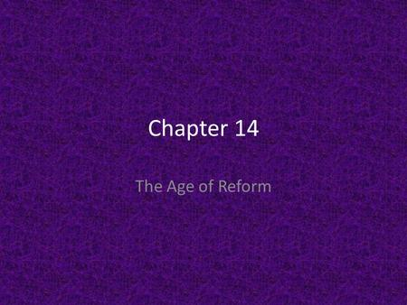 Chapter 14 The Age of Reform. It was designed for reading out loud. DFS Transparenc y 14-1 Click the mouse button or press the Space Bar to display.