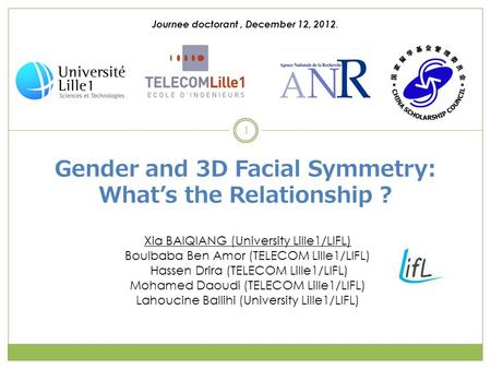 Gender and 3D Facial Symmetry: What's the Relationship ? Xia BAIQIANG (University Lille1/LIFL) Boulbaba Ben Amor (TELECOM Lille1/LIFL) Hassen Drira (TELECOM.