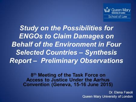 Study on the Possibilities for ENGOs to Claim Damages on Behalf of the Environment in Four Selected Countries – Synthesis Report – Preliminary Observations.