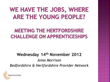 Wednesday 14 th November 2012 Anna Morrison Bedfordshire & Hertfordshire Provider Network.
