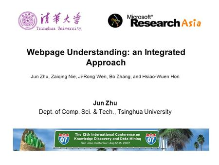 Webpage Understanding: an Integrated Approach