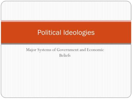Major Systems of Government and Economic Beliefs Political Ideologies.