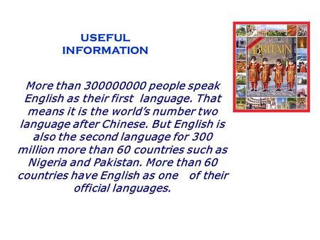 USEFUL INFORMATION More than 300000000 people speak English as their first  language. That means it is the world's number two language after Chinese. But.