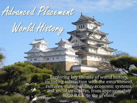 Advanced Placement World History Exploring key themes of world history, including interaction with the environment, cultures, state-building, economic.
