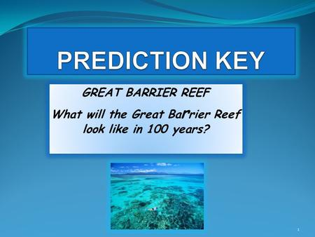 GREAT BARRIER REEF What will the Great Ba r rier Reef look like in 100 years? GREAT BARRIER REEF What will the Great Ba r rier Reef look like in 100 years?