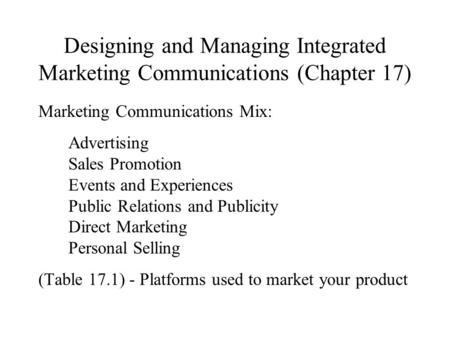 Marketing Communications Mix: