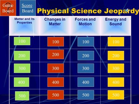 Game Board Physical Science Jeopardy Matter and Its Properties Changes in Matter Forces and Motion Energy and Sound 100 200 300 400 500 100 200 300 400.