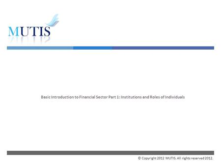  Basic Introduction to Financial Sector Part 1: Institutions and Roles of Individuals © Copyright 2012 MUTIS. All rights reserved 2012.