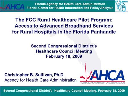 Second Congressional District's Healthcare Council Meeting, February 18, 2009 Florida Agency for Health Care Administration Florida Center for Health Information.
