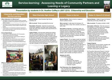 Cleveland, Ohio Service-learning: Assessing Needs of Community Partners and Leaving a Legacy Presentation by students in Dr. Heather Coffey's LBST 2215:
