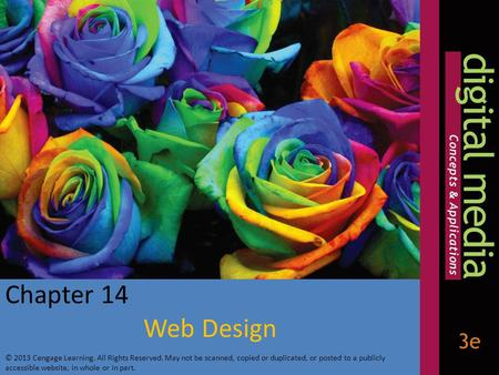 Chapter 14 Web Design © 2013 Cengage Learning. All Rights Reserved. May not be scanned, copied or duplicated, or posted to a publicly accessible website,
