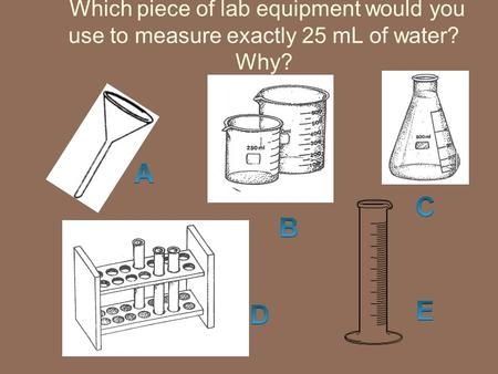 Which piece of lab equipment would you use to measure exactly 25 mL of water? Why?