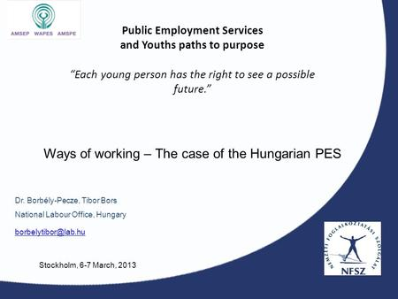 "Public Employment Services and Youths paths to purpose ""Each young person has the right to see a possible future."" Dr. Borbély-Pecze, Tibor Bors National."
