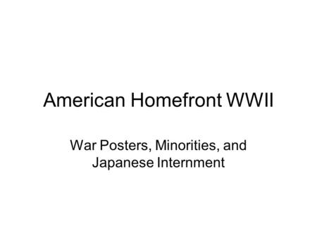 American Homefront WWII