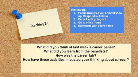 Checking In What did you think of last week's career panel? What did you learn from the panelists? How was the career fair? How have these activities impacted.