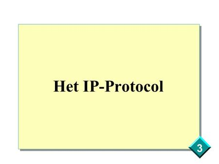 3 Het IP-Protocol. 3 IP-protocol Services Routing Multiple client protocols Datagram delivery Independant from the Network Interface Layer Fragmentation.