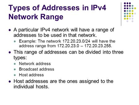 Types of Addresses in IPv4 Network Range A particular IPv4 network will have a range of addresses to be used in that network. Example: The network 172.20.23.0/24.