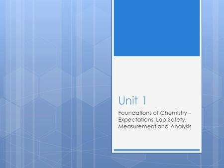 Unit 1 Foundations of Chemistry – Expectations, Lab Safety, Measurement and Analysis.