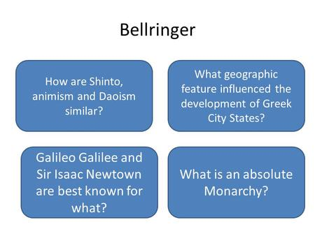 Bellringer How are Shinto, animism and Daoism similar?