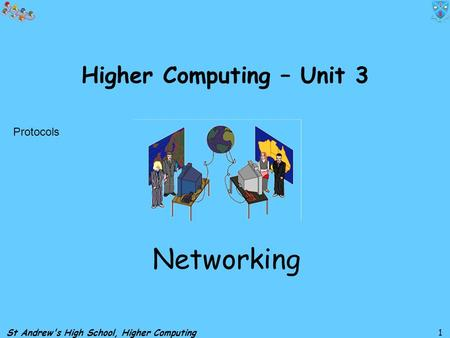 St Andrew's High School, Higher Computing 1 Higher Computing – Unit 3 Networking Protocols.