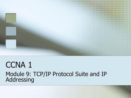 Module 9: TCP/IP Protocol Suite and IP Addressing