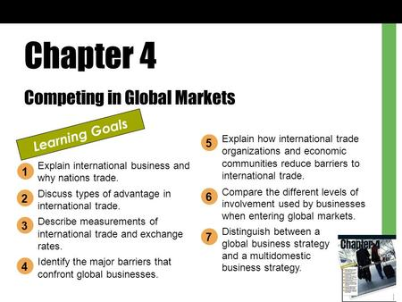 Chapter 4 Competing in Global Markets Learning Goals Explain international business and why nations trade. Discuss types of advantage in international.