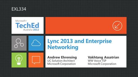 Lync 2013 and Enterprise Networking Andrew Ehrensing UC Solution Architect Microsoft Corporation Vakhtang Assatrian WW Voice TSP Microsoft Corporation.