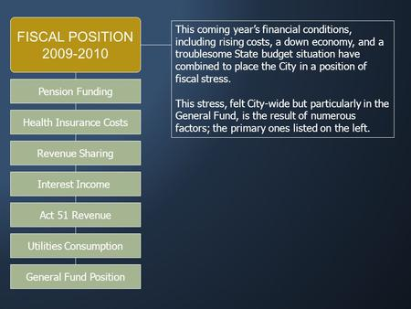 FISCAL POSITION 2009-2010 This coming year's financial conditions, including rising costs, a down economy, and a troublesome State budget situation have.