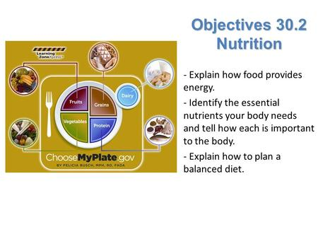 Objectives 30.2 Nutrition - Explain how food provides energy. - Identify the essential nutrients your body needs and tell how each is important to the.