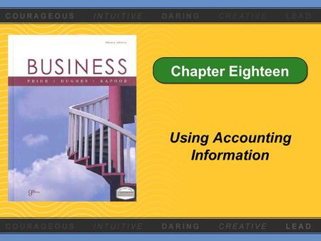 Chapter Eighteen Using Accounting Information. Key Statements Three key financial statements summarize the firm's activities for a specific period Balance.