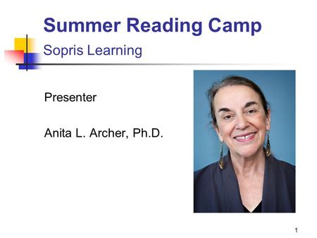 Summer Reading Camp Sopris Learning
