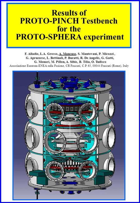 Results of PROTO-PINCH Testbench for the PROTO-SPHERA experiment F. Alladio, L.A. Grosso, A. Mancuso, S. Mantovani, P. Micozzi, G. Apruzzese, L. Bettinali,