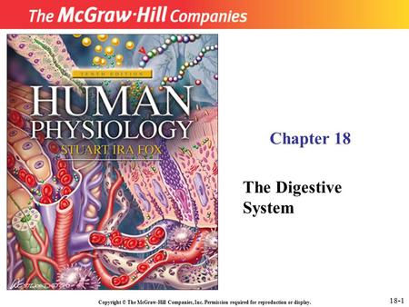 Copyright © The McGraw-Hill Companies, Inc. Permission required for reproduction or display. Chapter 18 The Digestive System 18-1.