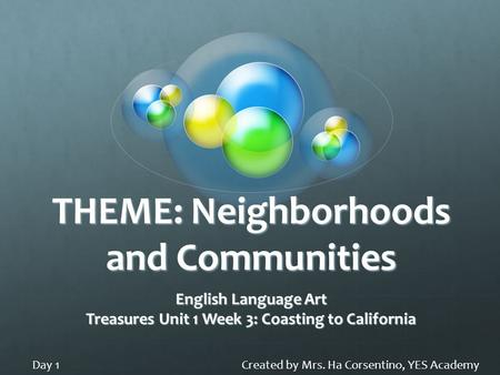 THEME: Neighborhoods and Communities English Language Art Treasures Unit 1 Week 3: Coasting to California Created by Mrs. Ha Corsentino, YES AcademyDay.
