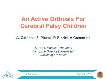 An Active Orthosis For Cerebral Palsy Children